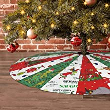 for Party Holiday Decorations Xmas Ornaments. JAWANNAN The Grinch Stole Christmas Christmas Tree Skirt 36 with White Fringed Border