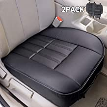 Leader Accessories 2pcs Leather Car Front Seat Cushion Black Seat Covers Universal Interior Seat Protector Mat Pad Fit Most Cars