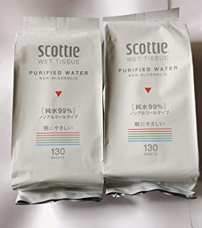 【まとめ買い】 スコッティ ウェットティシュー 純水99% ノンアルコール 詰替用 (2セット)