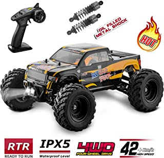 BEZGAR Hobbyist Grade 4x4 Waterproof RC Car, 1:12 Large Size Off Road Remote Control Fast Racing Hobby Car 40 Km/h High Speed Electric Monster Toy Vehicle Truck with Rechargeable Batteries for Adults