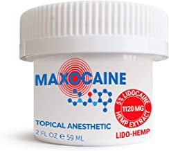 MAXOCAINE Hemp Oil Numbing Cream with 5% Lidocaine for Pain Relief. Max Strength and Unique Formula for Common Arthritis P...