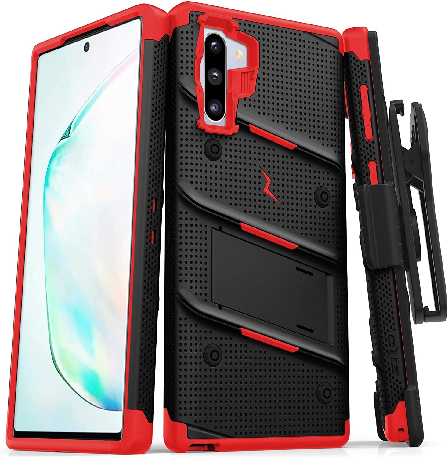 Zizo Bolt Cover - Case for Samsung Galaxy Note 10 & Kickstand and Holster (Black/Red)