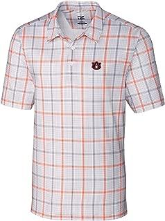 NCAA Auburn Tigers Short Sleeve Gordon Plaid Print Polo, 3X-Large, College Orange/Elemental Grey