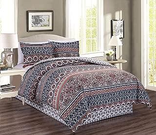 4-Piece Queen Size Fine Printed Colorful Boho Bedding Set Bohemian Comforter Set Reversible Goose Down Alternative Bedding (Orange, Grey, Black, White Scroll)