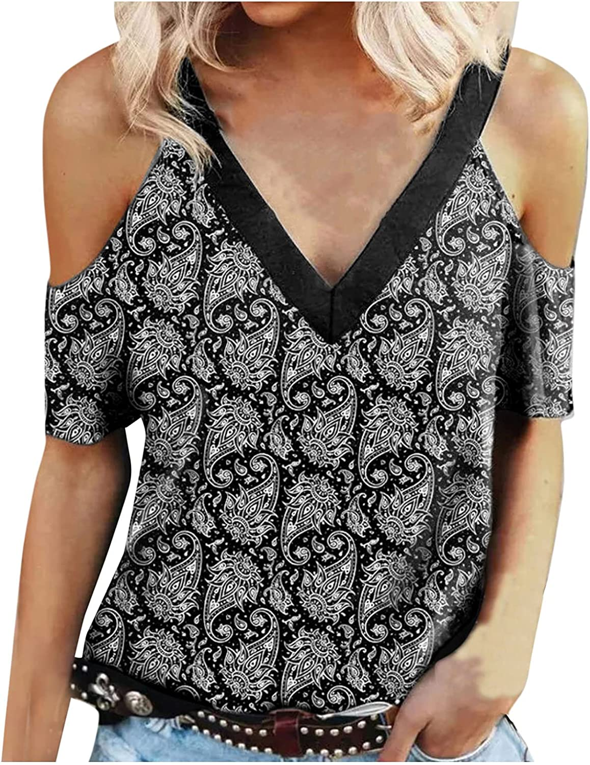 Womens Summer Tops Loose Fit, V Neck Shirts Cold Shoulder Tops Floral Printed Shirts Short Sleeve Blouses Tunic
