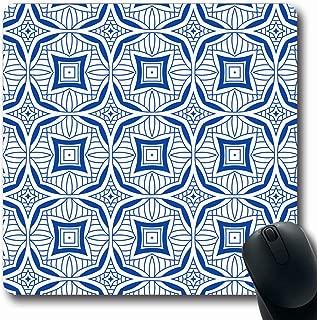 Ahawoso Mousepads for Computers Crochet Blue Kaleidoscope Abstract Geometric Mid Vintage Aztec Batik Bohemian Boho Book Flower Oblong Shape 7.9 x 9.5 Inches Non-Slip Oblong Gaming Mouse Pad