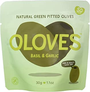 OLOVES Whole Pitted Green Olives   30 Pack   Basil & Garlic   Vegan, Kosher, Gluten Free + Keto Friendly, All Natural Low ...