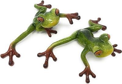 Green Tree Resin Pair of Tree Frogs Figurines, Indoor Outdoor Decor,