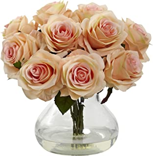 Nearly Natural 1367-PH Rose Arrangement with Vase, Peach