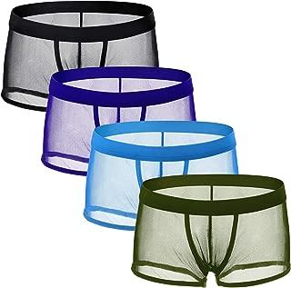 Men's Mesh Boxer Briefs, 4 Pieces Transparent Underwear See Through Low Rise Trunks Breathable Underpants
