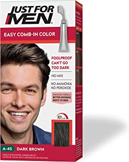 Just For Men Easy Comb-In Color (Formerly Autostop), Gray Hair Coloring for Men with Comb Applicator - Dark Brown, A-45 (P...