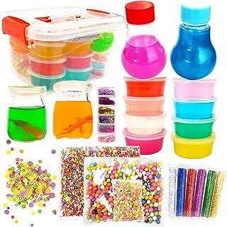 3 Pounds Ultimate Make Slime Kit - DIY Big Slime Supplies Crunchy Slime Making Kit for Girls - 12 Colors Crystal Clear Slime 4 Jiggly Jars & Bulbs, Foam Balls, Fruit Slices, 12 Pack Glitter Slime