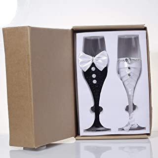 Bride and Groom Wedding Champagne Toasting Flute Anniversary Glasses with Silk Bow Tie and White Lace Trim Rhinestone Décor, Set of 2