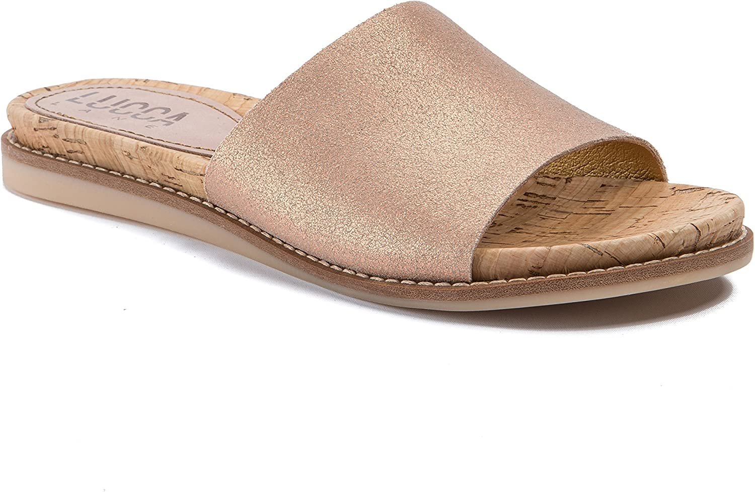 Lucca Lane Womens Bailey Leather Open Toe Casual Slide Sandals
