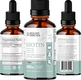 Biotin 10000mcg Drops - Extra Strength Liquid Biotin, High Potency for Thick Hair, Glowing Skin, Strong Nails - Supports D...