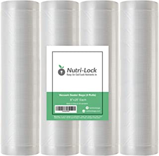 "Nutri-Lock Vacuum Sealer Bags. 4 Rolls 8""x25' Commercial Grade Bag Rolls. Works with FoodSaver and Sous Vide. Fits Inside ..."