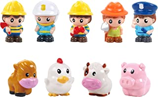 Play 2 Grow People Figures and Farm Animals Playset, Set of 9 Dollhouse Figure Set - Cow, Chicken, Horse, Pig, 5 First Res...