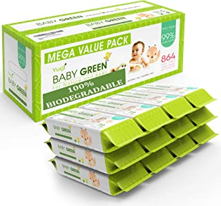 Baby Green - Biodegradable Baby Wipes Unscented – Value Pack (12 Packs of 72) 864 – 99% Pure Water Plastic FREE Moist Newb...