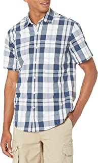 Amazon Essentials mens standard Slim-fit Short-sleeve Plaid Shirt