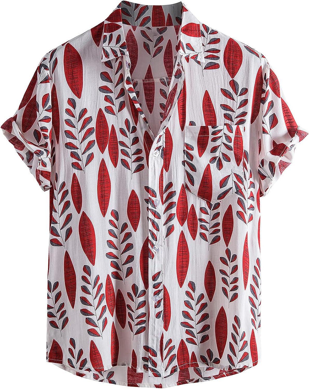 Men's Button Up Flower Shirts Fashion Summer Casual Print Short Sleeve Shirt for Men Hawaiian Aloha Shirts