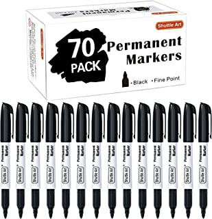 Sponsored Ad - Permanent Markers,Shuttle Art 70 Pack Black Permanent Marker set,Fine Point, Works on Plastic,Wood,Stone,Me...