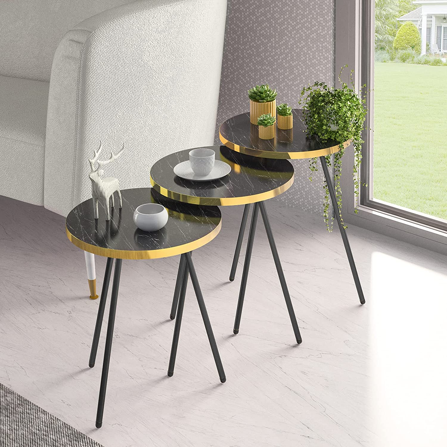 Set High quality new Max 56% OFF of 3 Nesting END Tables HOME Round Stacking DECOR SUNRISE -