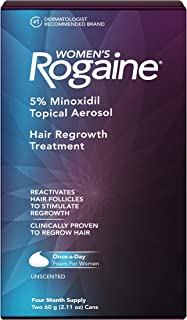 Women's Rogaine 5% Minoxidil Foam for Hair Thinning and Loss, Topical Treatment for..