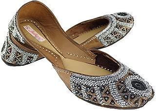 Fulkari Women's Classic Multicolor Genuine Soft Leather Jutis | Bite and Pinch Free Jutis | Punjabi Jutti for Ladies Flat Mojari | Bridal Ethnic Flats for Girls |