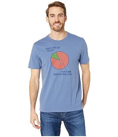 Life is Good Pizza Wish Crusher T-Shirt (Heather Vintage Blue) Men