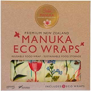 Bella Manuka Eco Bees Wrap Assorted 3 Pack, Reusable Beeswax Food Wraps, Plastic Free Alternative for Food Storage, Sustai...