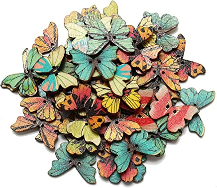 Sannysis 50pcs 2 Holes Mixed Butterfly Wooden Button Sewing Scrapbooking DIY Craft