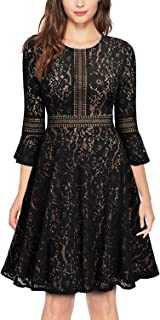 Women's Vintage Full Lace Contrast Flare Sleeve Big Swing A-Line Dress