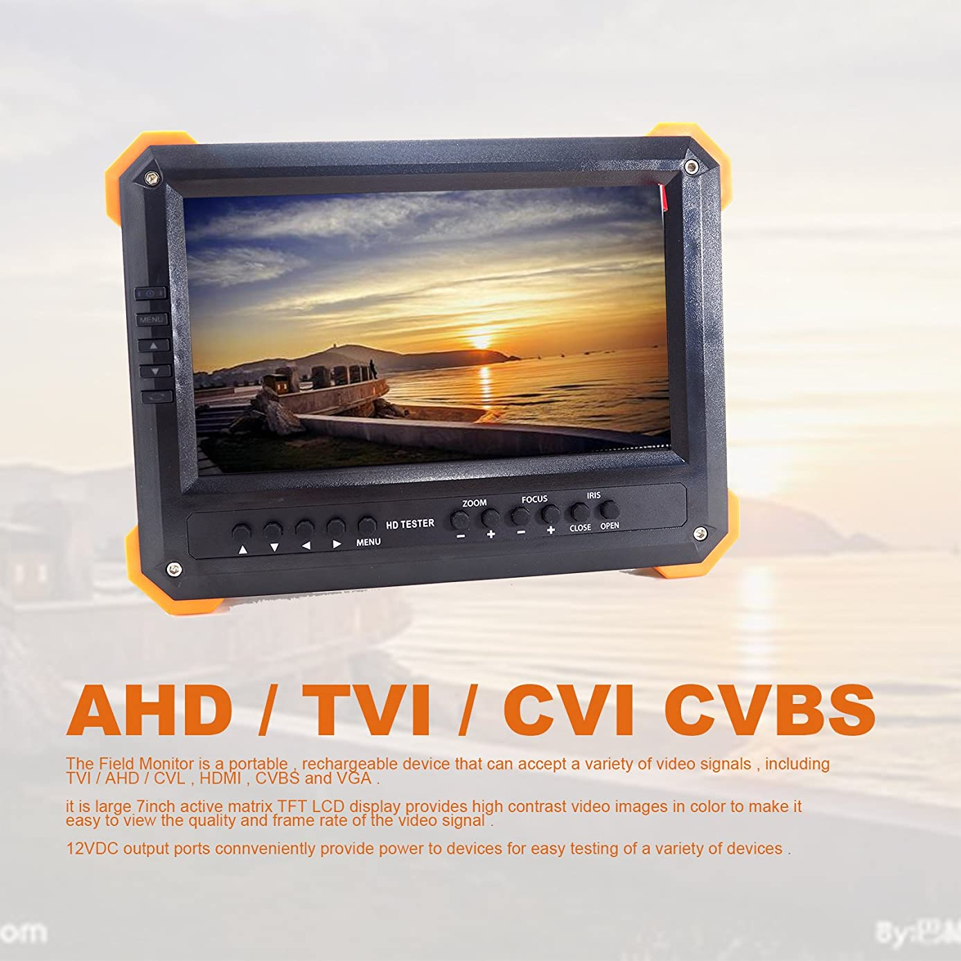 長々と良性クラッシュX41TAC 7インチLCD 5MP HD TVI AHD CVIカメラテスター CCTVテスターモニター アナログ1080Pカメラテスト VGA HDMI入力 12V出力
