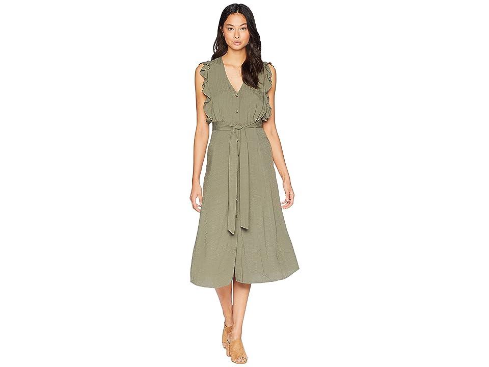 1.STATE Sleeveless Button Down Midi Dress with Ruffles (Grassland) Women