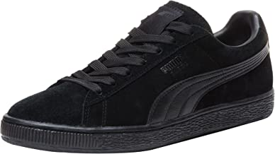 PUMA Suede Classic Leather Formstrip Sneaker,Black/Black,11 D(M) US