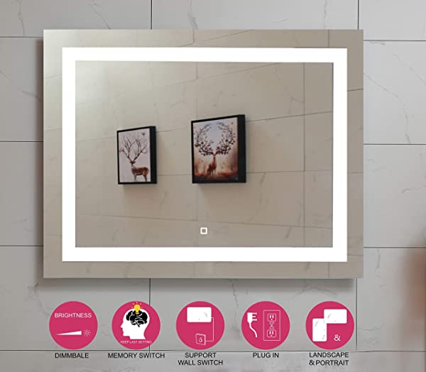 36X28 英寸 LED 照明浴室镜子带可调光触摸开关 GS099D 3628N 36X28 英寸新