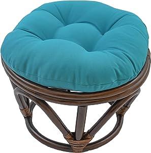 Blazing Needles Solid Twill Round Footstool Cushion, 18
