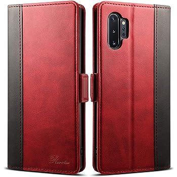 Galaxy note 10+ plus ケース 手帳型 SC-01M SCV45 スマホケース Rssviss カード収納 カバー 手帳 サイドマグネット スタンド機能付き 保護力 PUレザ ー レッド Galaxy note 10+ plus対応