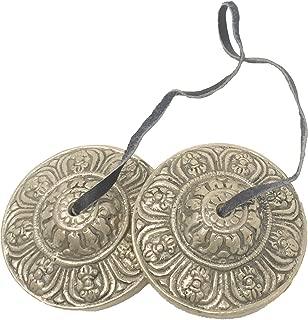 Tingsha Cymbals Tibetan Lucky Symbol Embossed Meditation Yoga Bell Chimes (Medium, Silver Vajra Symbol)