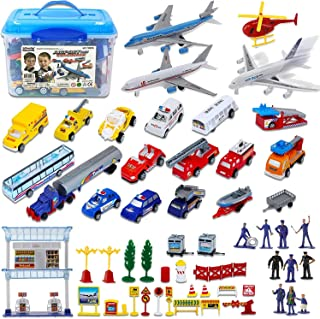 Liberty Imports Deluxe 57-Piece Kids Commercial Airport Playset in Storage Bucket with Airplane Toy, Play Vehicles, Fire Trucks, Police Cars & Figures, and Accessories