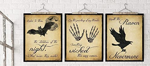 The Raven, Dracula and Macbeth Literary Quote Set. Edgar Allan Poe, William Shakespeare and Bram Stoker. Vintage Style Fine Art Paper, Laminated, or Framed. Multiple Sizes Available.