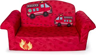 Marshmallow Furniture - Children's 2 in 1 Fire Truck Flip Open Foam Sofa (Amazon Exclusive)