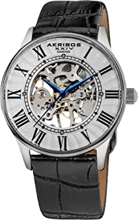 Father's Day Gift - Akribos Automatic Skeleton Mechanical Men's Watch - 4 Genuine Diamonds Hour Markers On Crocodile Pattern Leather Strap See Through Dial - AK499