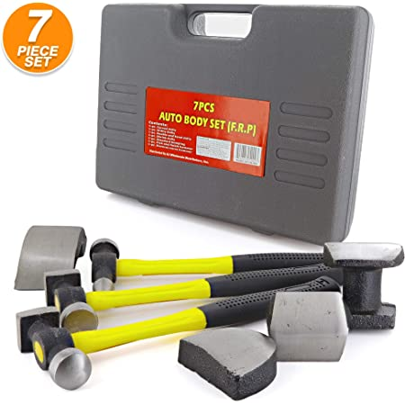 Auto Body Repair Tool Kit Hammer & Dolly 7 PC for Car Hail Damage and Door Dings Repair by - Ram-Pro