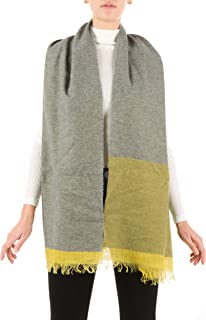 Very Soft Color Block Striped Fringed Scarf in Cashmere Blend - 100% Made in Italy