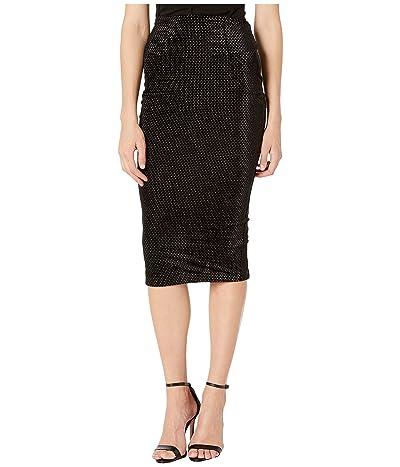 Unique Vintage Embossed Velvet High-Waisted Tracy Wiggle Skirt (Black) Women