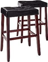 Crown Mark 2987 Kent Saddle Chair, Black, 2 Per Box