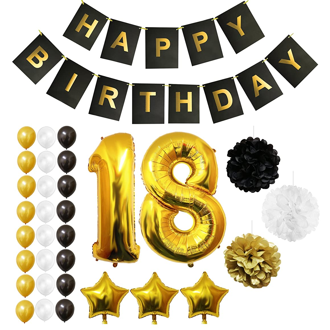 18th Happy Birthday Party Balloons, Supplies & Decorations by Belle Vous - 32 Pc Set - Large 18 Years Foil Balloon 12