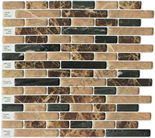 "Crystiles Peel and Stick Self-Adhesive DIY Backsplash Stick-on Vinyl Wall Tiles for Kitchen and Bathroom Décor Projects, Brown and Black Marbles Style, Item# 91010843, 10"" X 10"" Each, 6 Sheets Pack"