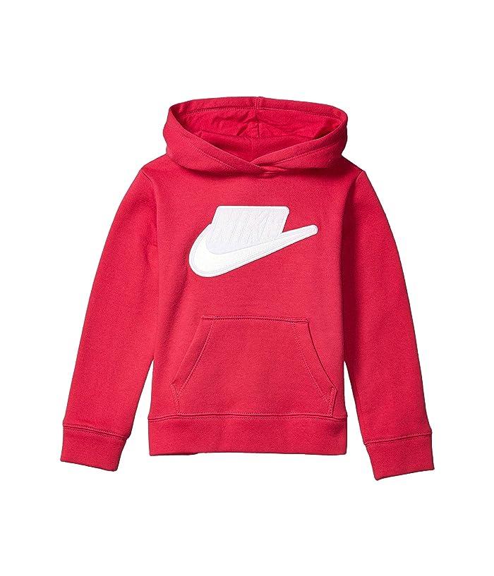 Nike Kids  Sueded Fleece Iridescent Logo Pullover Hoodie (Toddler/Little Kids) (Rush Pink) Girls Sweatshirt